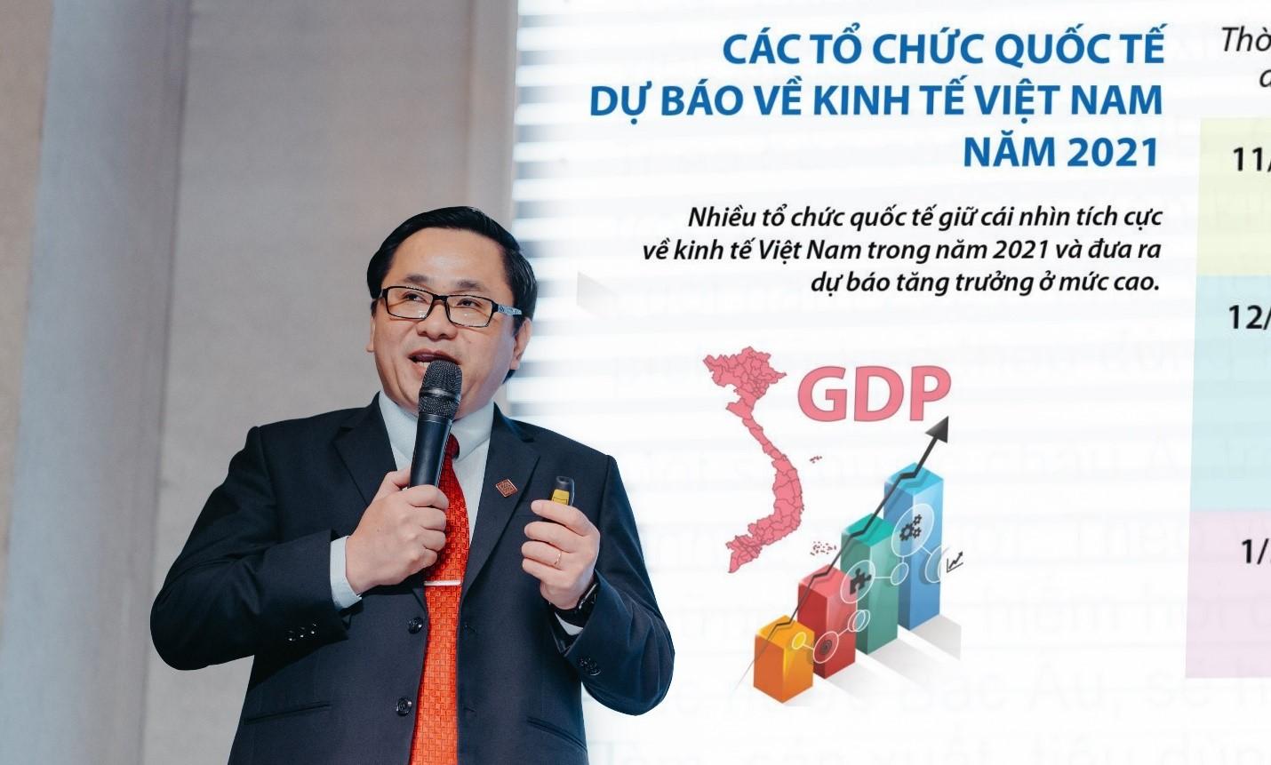 Ông Lê Tiến Vũ – Phó Chủ tịch thường trực HĐQT tập đoàn chia sẻ về tình hình kinh tế vĩ mô